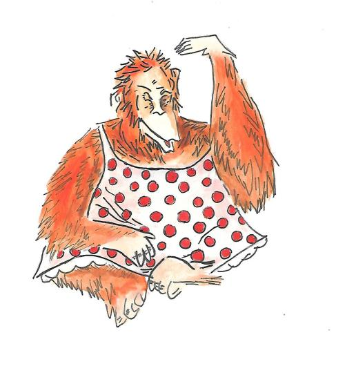orangutan in dress