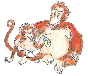 orangutan librarian and monkey baby0002
